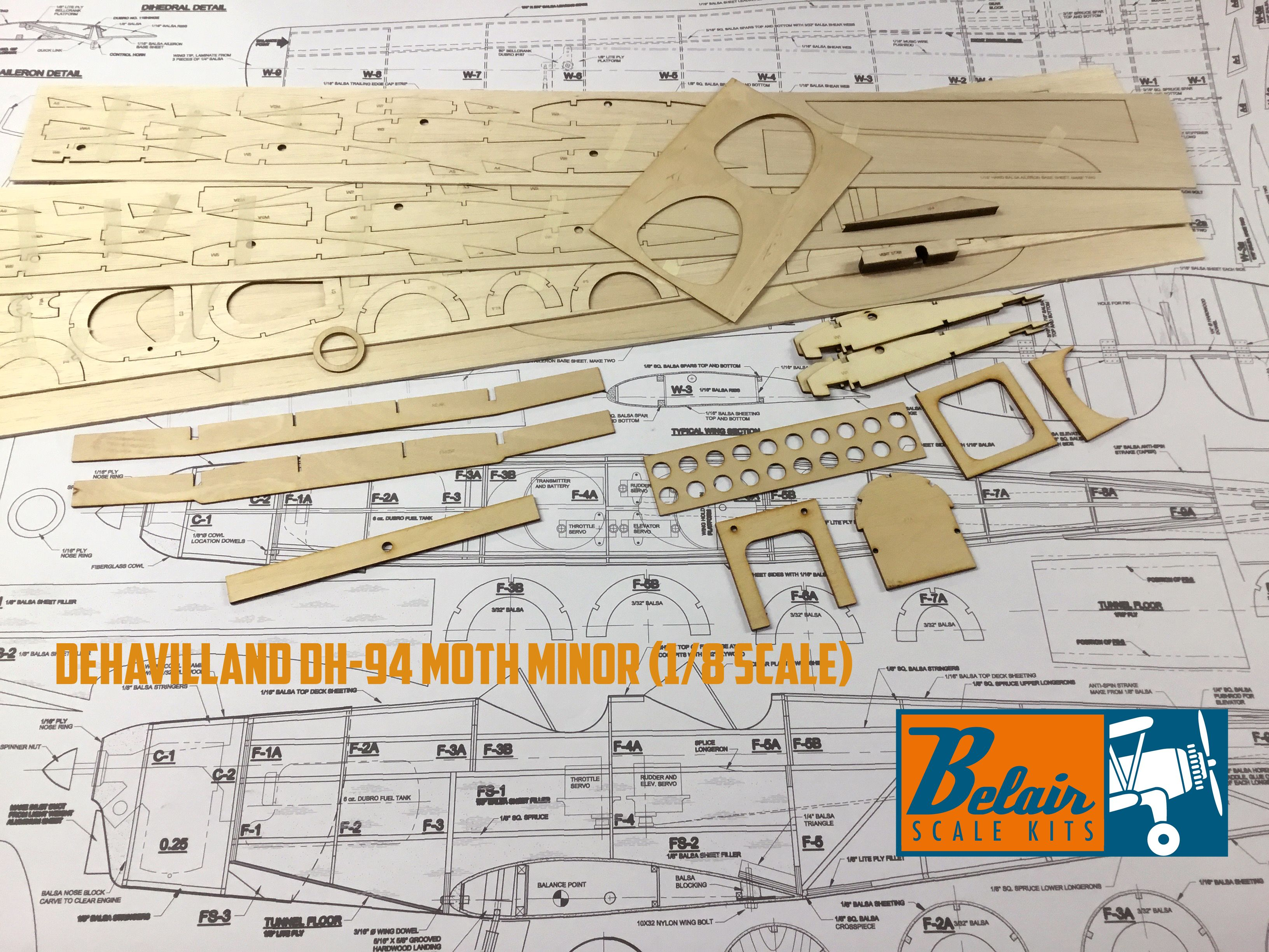 DeHavilland DH-94 Moth Minor (1/8 Scale) Parts and Plan set