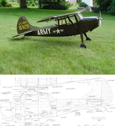 Cessna Bird Dog L-19 Plans - 3 scales