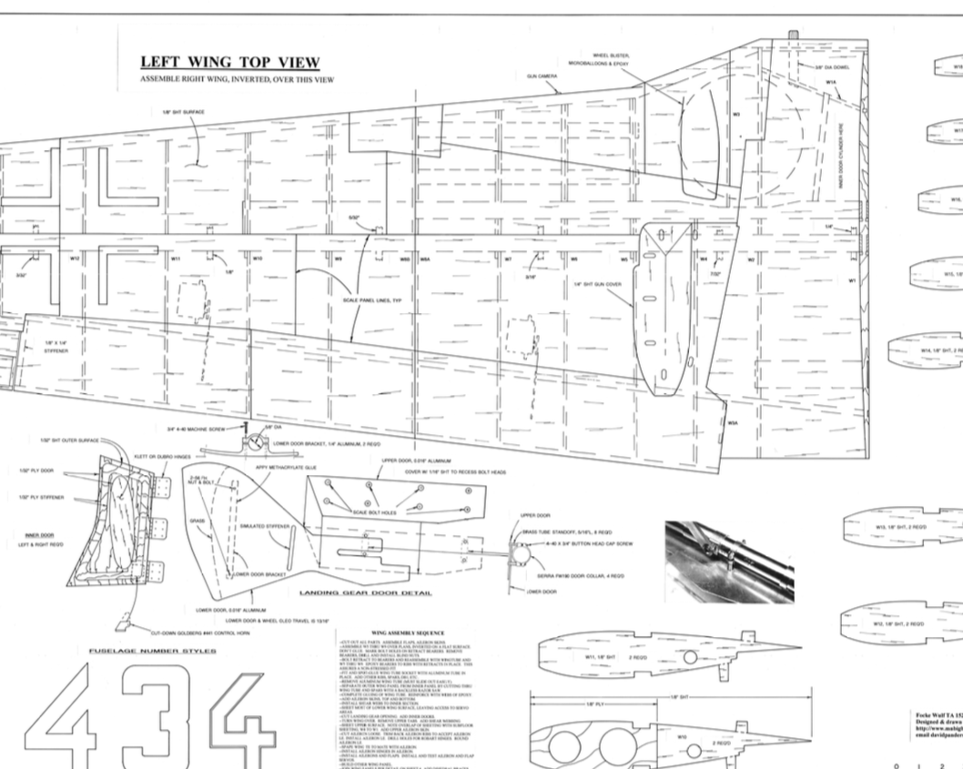 Focke Wulf TA152H Plan set - 1/5th & 1/6th scale